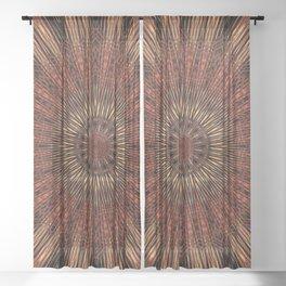 Rust Brown Bohemian Mandala Sheer Curtain