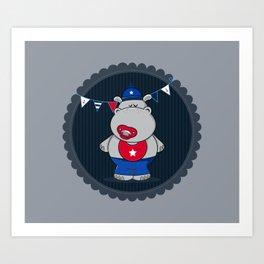 Nautical Hippo Art Print