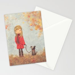 Little girl with dog in autumn landscape Stationery Cards