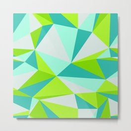 Green Blue Geometric Abstract Trianges Metal Print