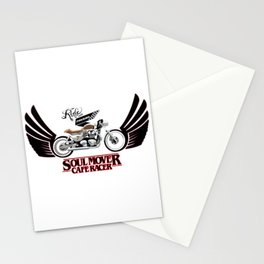 Retro Cafe Racer Soul Mover logo Stationery Cards