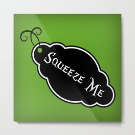 """Squeeze Me"" Alice in Wonderland styled Bottle Tag Design in 'Garden Green' Metal Print"
