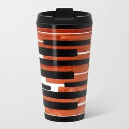 Light Brown Primitive Stripes Mid Century Modern Minimalist Watercolor Gouache Painting Colorful Travel Mug