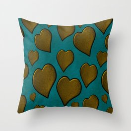 Cascading  Hearts turquoise  gold Throw Pillow