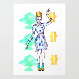 Woman in a blue and white dress  Art Print
