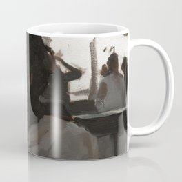 Portrait Painting of Woman Smoking in Coat Urbanscape Black and Gray Impressionistic Art Coffee Mug