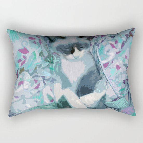 Nestled Kitten in Comforter Cloud Rectangular Pillow