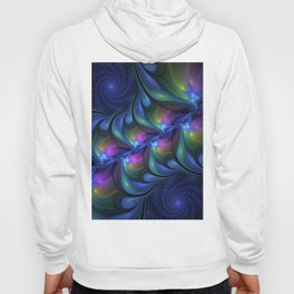 Colorful Luminous Abstract Blue Pink Green Fractal Hoody