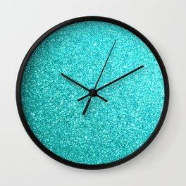 Bright Aqua Blue Glitter Tiffany Wall Clock