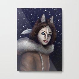 DogGirl in Snow Fall Metal Print