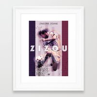 zidane Framed Art Prints featuring Zinedine Zidane (Zizou) by NaniGraphics