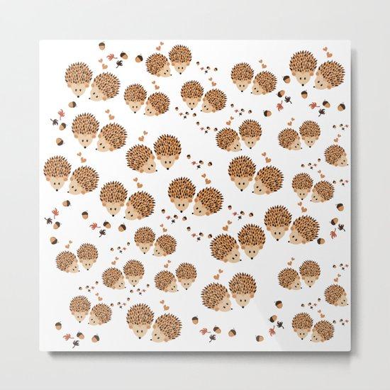 Hedgehogs in autumn Metal Print