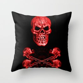 Skull And Crossbones Red Throw Pillow