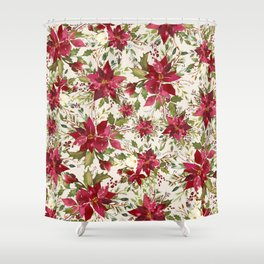 POINSETTIA   FLOWER OF THE HOLY NIGHT Shower Curtain