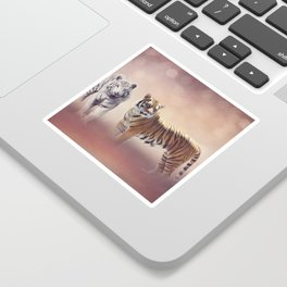 White And Brown Bengal Tigers Sticker