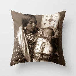 Apsaroke Mother and Child - Curtis - 1908 Throw Pillow