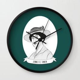 Jeannette Rankin Illustrated Portrait Wall Clock