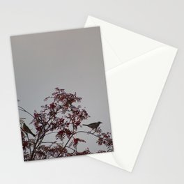 Birds on rowan tree Stationery Cards