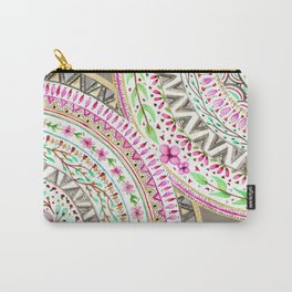 Mandalas indigo watercolor and flowers Carry-All Pouch