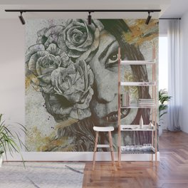 Of Suffering: Autumn (dark lady portrait with roses) Wall Mural