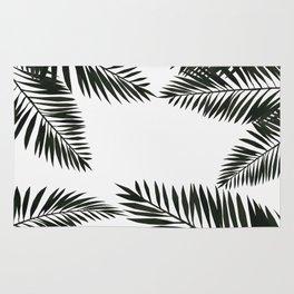 Black Watercolor Tropical Leaves Rug