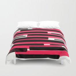 Pink Primitive Stripes Mid Century Modern Minimalist Watercolor Gouache Painting Colorful Stripes Wa Duvet Cover