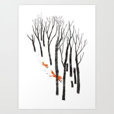 Foxes running in the Woods Art Print