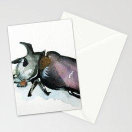 Rhinoceros Beetle Watercolor Stationery Cards