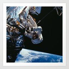 NASA Astronaut F. Story Musgrave during one of five spacewalks Repairing Hubble Space Telescope Art Print