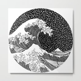 The wave of Kanagawa. Hokusai Metal Print
