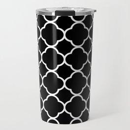 Black & White Moroccan Quatrefoil Design Travel Mug