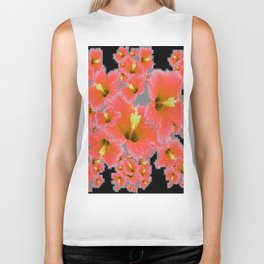 BLACK-GREY CORAL COLOR HIBISCUS ART Biker Tank