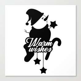 Warm Wishes Christmas Winter Snowman Canvas Print