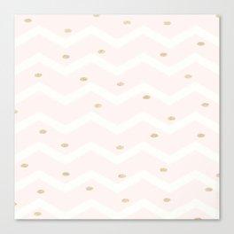 Pink Gold White Glitter Confetti Chevron Polka Dots Brushstroke Canvas Print