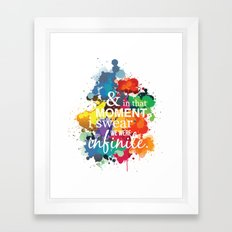 And In That Moment I Swear We Were Infinite - Perks of Being a Wallflower - Paint Splatter Poster Framed Art Print