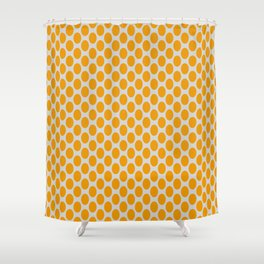 Gold Oval Pattern on Gray Background Shower Curtain