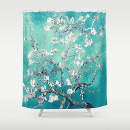 Vincent Van Gogh Almond Blossoms Turquoise Shower Curtain