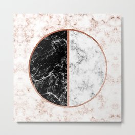Marble black and white circle Metal Print
