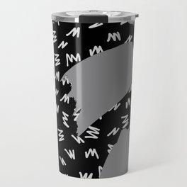Black White And Grey Retro 80s Zig Zag Pattern Travel Mug