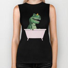 Playful T-Rex in Bathtub in Green Biker Tank