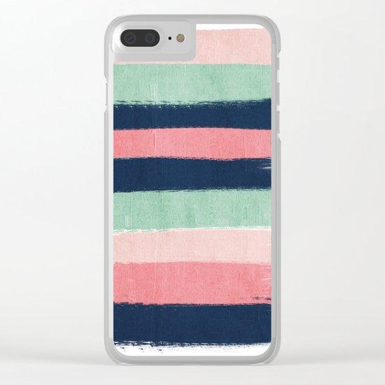 Painted stripe stripes mint navy pink modern color palette painterly minimalist nursery art Clear iPhone Case