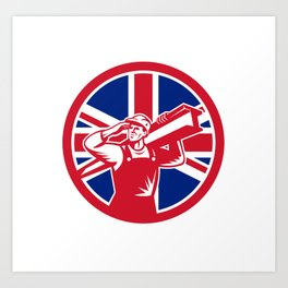 British Construction Worker Union Jack Flag Icon Art Print