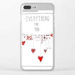 diy valentine card Clear iPhone Case
