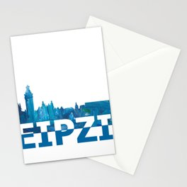Leipzig Saxonia Skyline Silhouette Strong with Text Stationery Cards