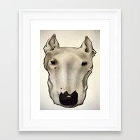 bull terrier Framed Art Prints featuring Bull Terrier by Caroline Blicq