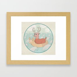 Deer Across the Sea Framed Art Print