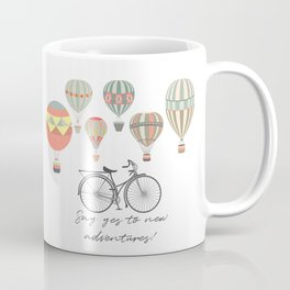 Adventures. Illustration with air balloons and bicycle in vintage hipster style Coffee Mug