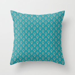 Fearless Female Teal Throw Pillow