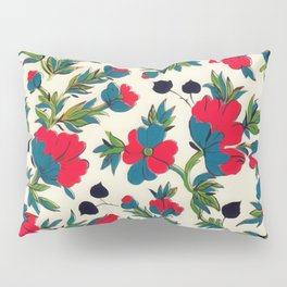 Bloom Red Floral Green Botanical Watercolor Pillow Sham
