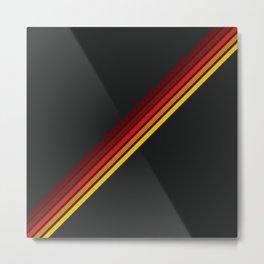 Minimal Red Thin Retro Stripes Art On Black - Ahuizotl Metal Print
